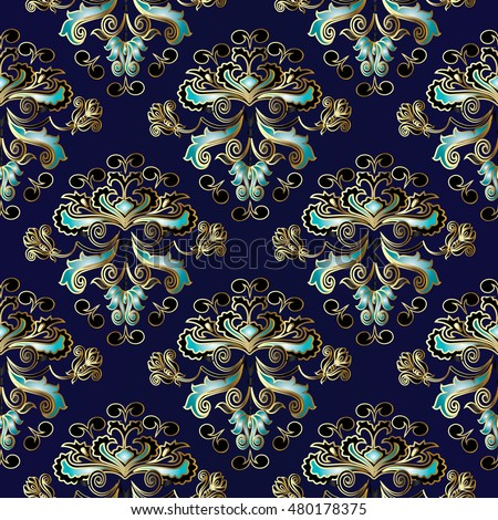 Dark Blue Royal Baroque Damask Vector Seamless Pattern Background Wallpaper Illustration With Decorative Vintage Black Gold