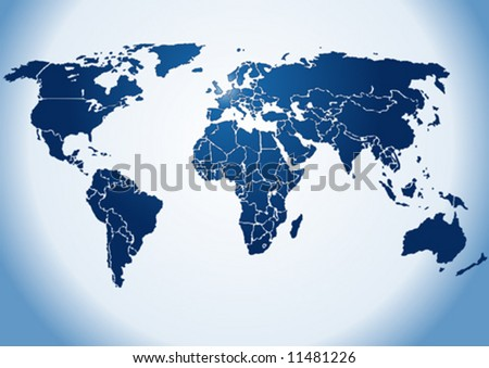 Dark blue shiny silhouette World map, on shiny blue background(Vector). Each country is a separate shape. Background is in a separate layer. Colors are controlled by Swatches - stock vector