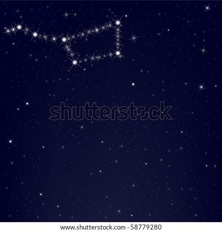 Dark Blue Sky With Constellation Of Ursa Major, Vector Illustration - stock vector