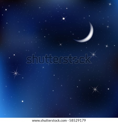 Dark Blue Sky With Stars And Moon, Vector Illustration - stock vector