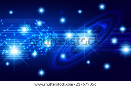 Dark blue sparkling background with stars in the sky and blurry lights, illustration. Abstract, Universe, Galaxies, ring.  - stock vector