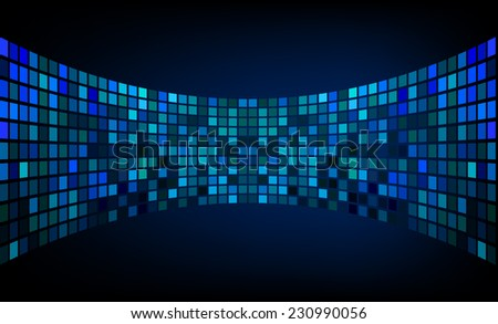 Dark blue Vector abstract design. pixels mosaic background computer graphic website and internet. - stock vector