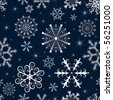 Dark blue winter pattern with white and blue snowflakes and stars (vector) - stock vector
