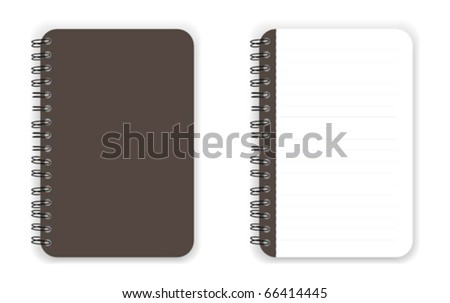 Dark brown color blank Notebook vector - stock vector