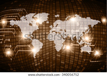 Dark brown Light Abstract Technology background for computer graphic website internet and business. circuit. vector illustration. infographics. motion move blur.neon. pixel. World Map, Global
