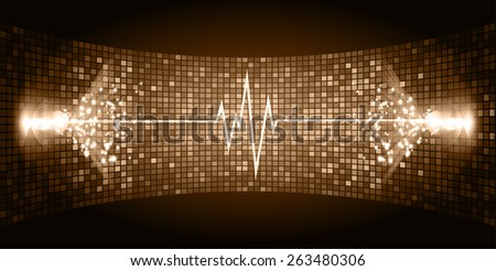 Dark brown purple Sound wave background suitable as a backdrop for music, technology and sound projects. Blue Heart pulse monitor with signal. Heart beat. - stock vector