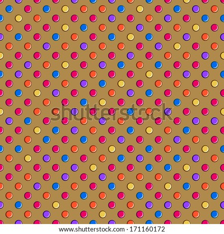 Dark Brown Seamless Polka Dot Pattern with Colorful Pink Yellow Purple Spots. Background - stock vector