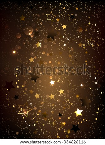 Dark brown textured background with gold shiny little stars.