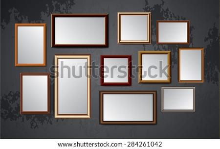 dark brown wood frames vector on old wall. - stock vector