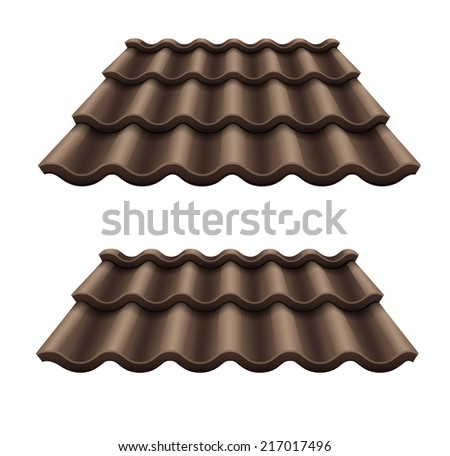 Dark chocolate corrugated tile element of roof. Eps10 vector illustration. Isolated on white background - stock vector