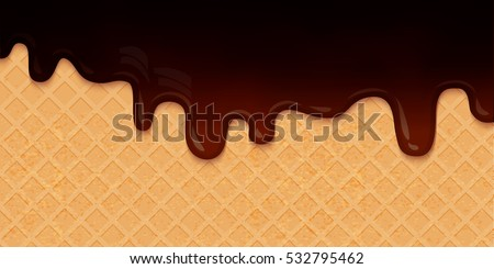 Dark Chocolate Melted on Wafer Background. Vector Illustration. Tasty liquid cream. Choco ciryp on waffle layout.