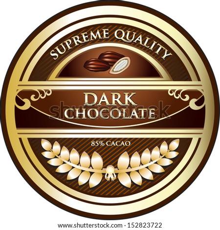 Dark Chocolate Vintage Label - stock vector