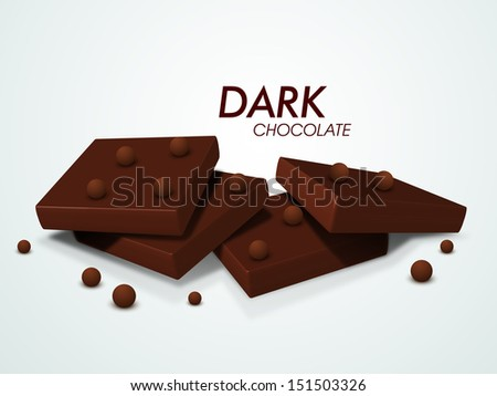 Dark chocolates on abstract background.  - stock vector