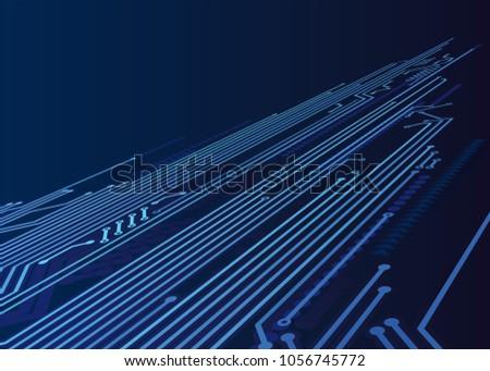 Dark Circuit Connections Stock Vector 1056745772 - Shutterstock