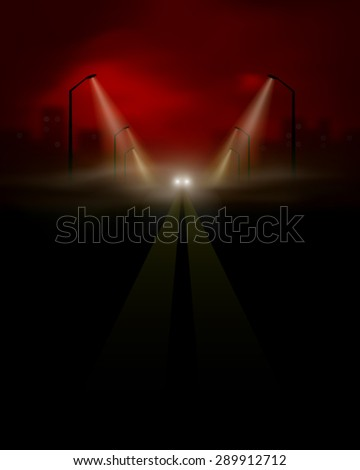 dark city road vector - stock vector