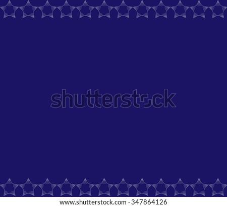 dark combination of contiguous, horizontal, light gray stars, consisting of small, twisted scrolls, weavings and points that create the effect it frame on a blue background. New vector illustration