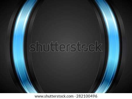 Dark corporate background with glow blue light. Vector design