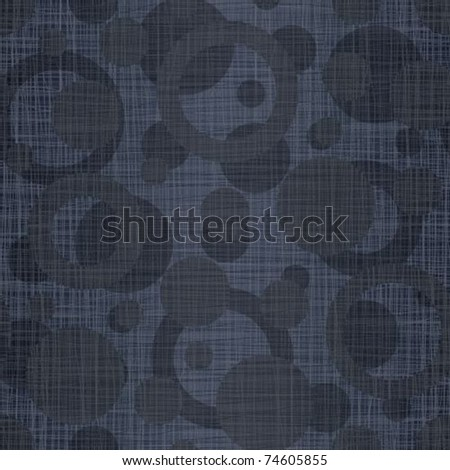 Dark dark blue linen jeans fabric with drawing circles - stock vector