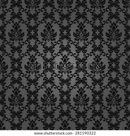 Dark elegant floral vintage wallpaper.Seamless damask pattern. Vector background. - stock vector