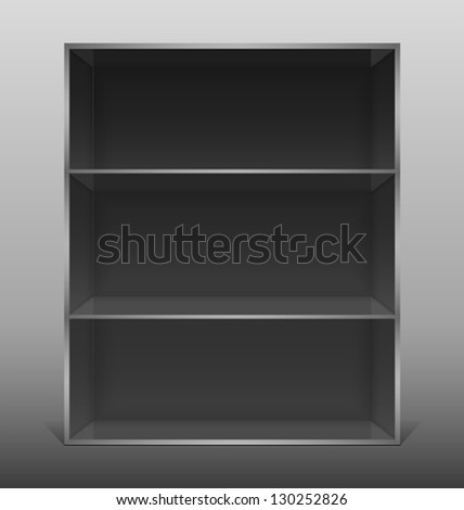 Dark empty isolated bookshelf. Vector illustration. - stock vector