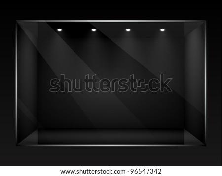 Dark empty show window of shop. Vector illustration. - stock vector
