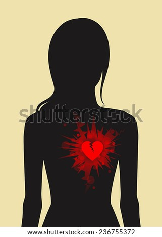 Dark female silhouette with red broken heart in her chest - stock vector