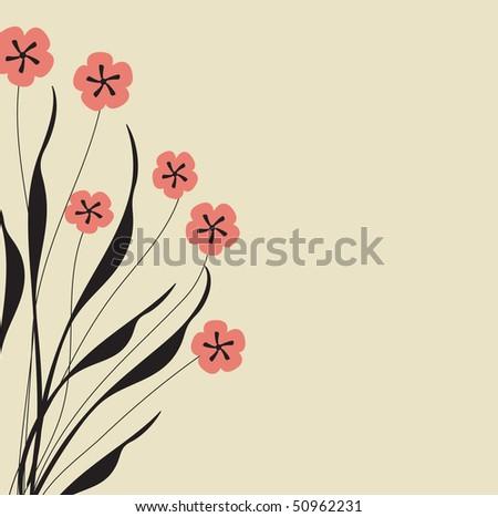 Dark floral background. Vector. - stock vector