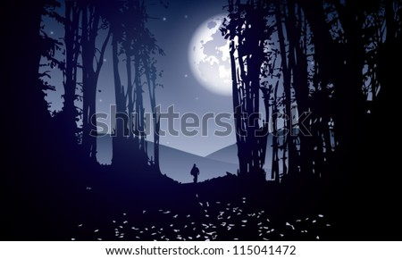 dark forest with man walking at moonlight - stock vector