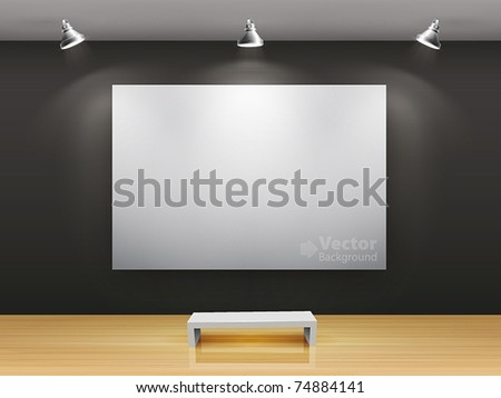 Dark gallery Interior with empty frame on wall - stock vectorEmpty Picture Frame On Wall