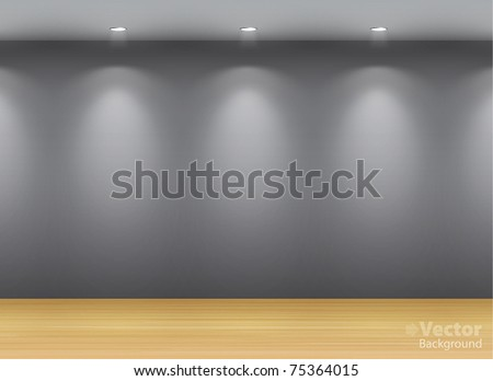 Dark gallery Interior with empty frame on wall - stock vector