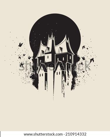 Dark gothic house against black moon - stock vector