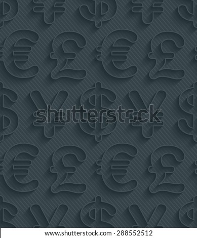 Dark gray currency symbols wallpaper. 3d seamless background. Vector EPS10. - stock vector