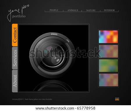 dark gray web site, portfolio photographer with a lens - stock vector