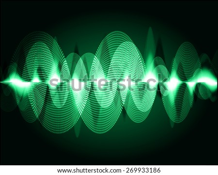 dark green abstract digital sound wave background. Light Technology background for computer graphic website internet. - stock vector