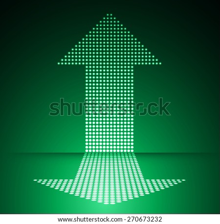 Dark green arrow Abstract light lamps background for Technology computer graphic website internet and business.. Screen on stage. Vector illustration. Spot Effect. neon. point. dot - stock vector
