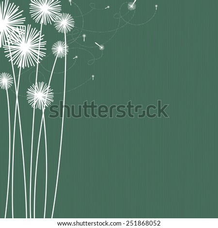 Dark green background with white dandelion flowers. Space for copy/text. Layered vector file, for easy manipulation. - stock vector