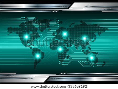 Dark green blue Light Abstract Technology background for computer graphic website internet and business.circuit.vector illustration.infographics. motion move.neon. pixel, Padlock, World Map, Global