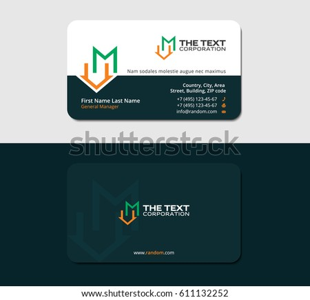 Dark green business card template letter stock vector 611132252 dark green business card template with letter m and roof reheart Image collections