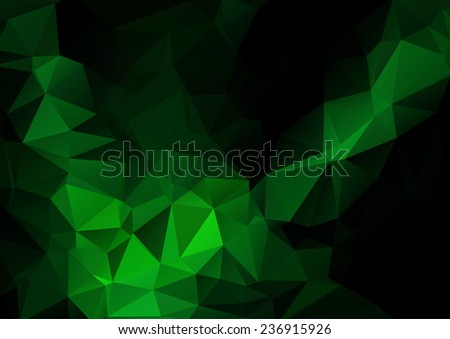 Dark green butterfly. Abstract vector polygonal background - stock vector
