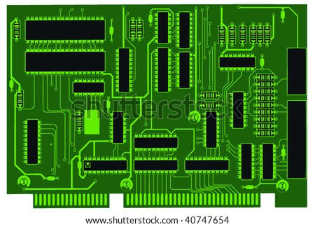 dark green circuit board - stock vector