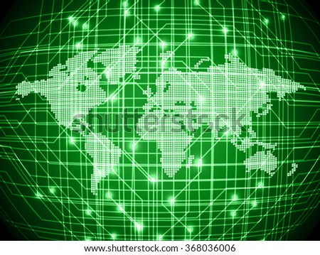 dark green color Light Abstract Technology background for computer graphic website internet and business.circuit.illustration.digital.infographics.binary code. www.vector.motion move blur. World map