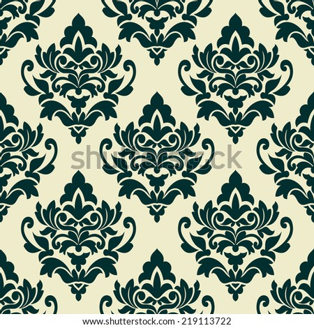 Dark green floral seamless pattern in damask style on light green background for wallpaper, tiles and fabric design - stock vector