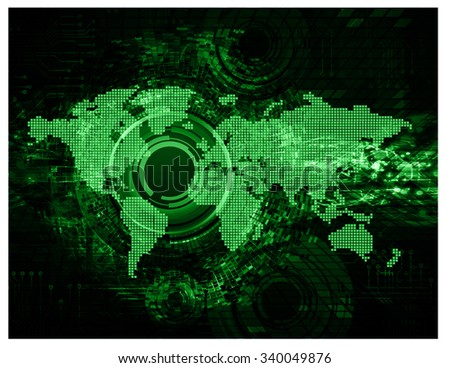 Dark green Light Abstract Technology background for computer graphic website internet and business. circuit. vector illustration. infographics. motion move blur.neon. pixel. World Map, Global - stock vector