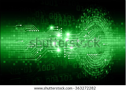 dark green Light Abstract Technology background for computer graphic website internet and business. circuit. illustration.digital.infographics. binary code. zero one.eye - stock vector