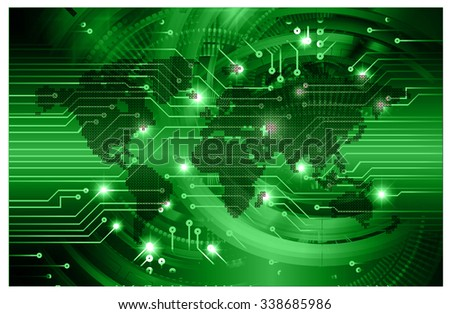 dark green Light Abstract Technology background for computer graphic website internet business.circuit.illustration.digital.infographics.binary code. www.vector.motion move blur. World map Global - stock vector