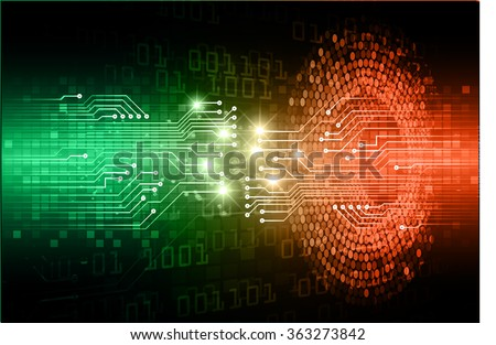dark green orange Light Abstract Technology background for computer graphic website internet and business. circuit. illustration.digital.infographics. binary code. zero one.eye - stock vector