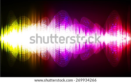 dark green red blue abstract digital sound wave background. Light Technology background for computer graphic website internet. - stock vector