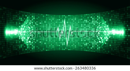 Dark green Sound wave background suitable as a backdrop for music, technology and sound projects. Blue Heart pulse monitor with signal. Heart beat. - stock vector