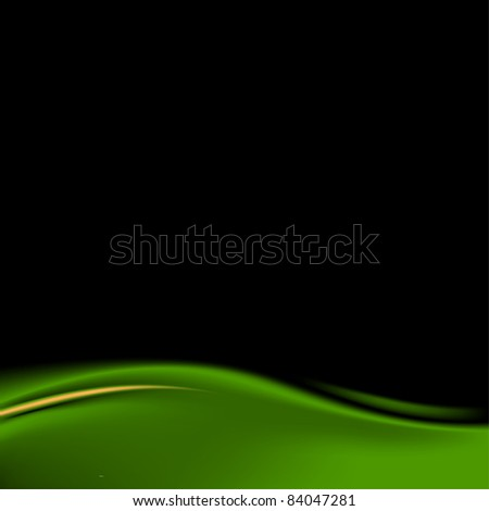 Dark green stage curtain on a black background - stock vector