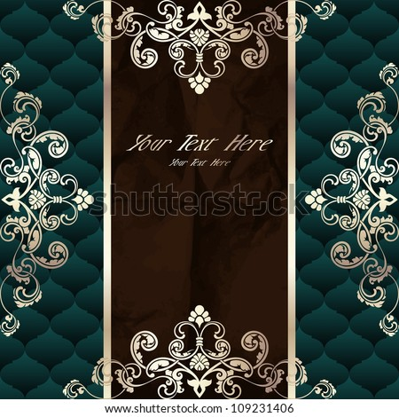 Dark green vintage banner with metallic ornaments (EPS10); jpg version also available - stock vector